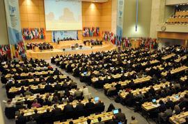 Ansicht auf die Versammlungshalle. Eröffnungssitzung der 100sten Sitzung der Internationalen Arbeitskonferenz, Genf, 1. Juni 2011