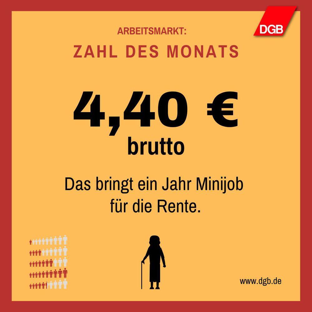 Arbeitsmarkt_Zahl des Monats: 4,40 Euro bringt ein Minijob für die Rente