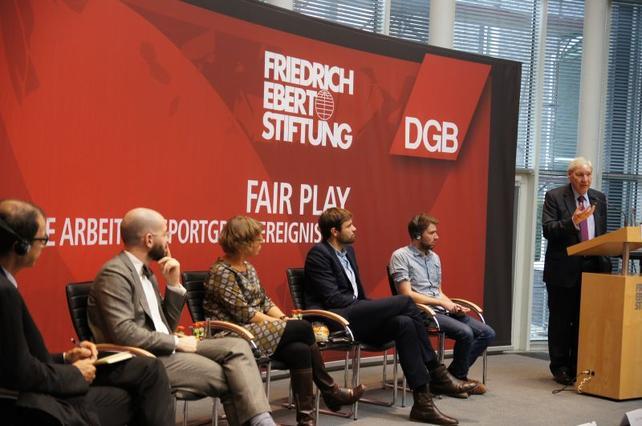 """Michael Sommer, DGB/FES-Veranstaltung """"Fair Play - Gute Arbeit bei Sportgroßereignissen"""""""