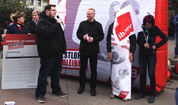Aktion Mindestlohn in Erfurt