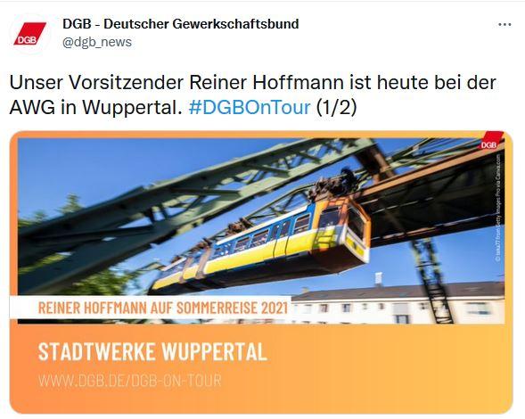 Ein Bild zur Sommerreise 2021 vom DGB-Vorsitzenden Reiner Hoffmann. Im Hintergrund ist die Wuppertaler Seilbahn zu sehen.