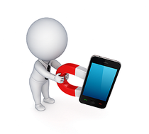 Figur mit Smartphone Handy und Magnet