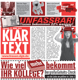 Aktionszeitung DGB Equal Pay Day 2014