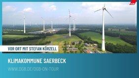 Panoramablick über die Kommune Saerbeck. Erster Stopp auf Stefan Körzells Sommerreise 2021. Zu sehen WIndräder und grüne Felder
