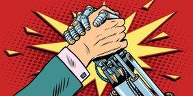 Menschliche Hand und Roboterarm als Comiczeichnung