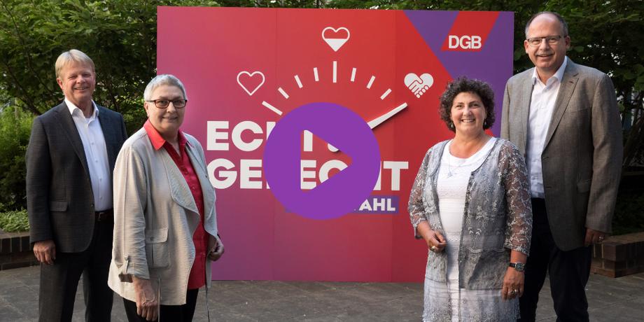 Rener Hoffmann, Elke Hannack, Anja Piel und Stefan Körzell vor Bundestagswahl-Motto: Echt Gerecht: Deine Wahl