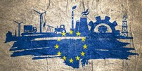 Symbole und Piktogramme zu Wirtschaft und mit EU-Sternen