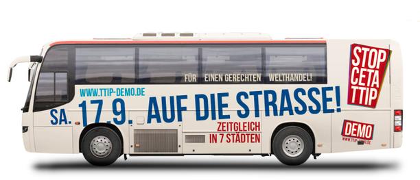 Bus mit TTIP CETA Demo Logo