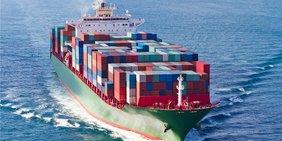 Containerfrachter auf offener See