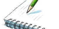 Zecihnung: Schreibblock und grüner Bleistift