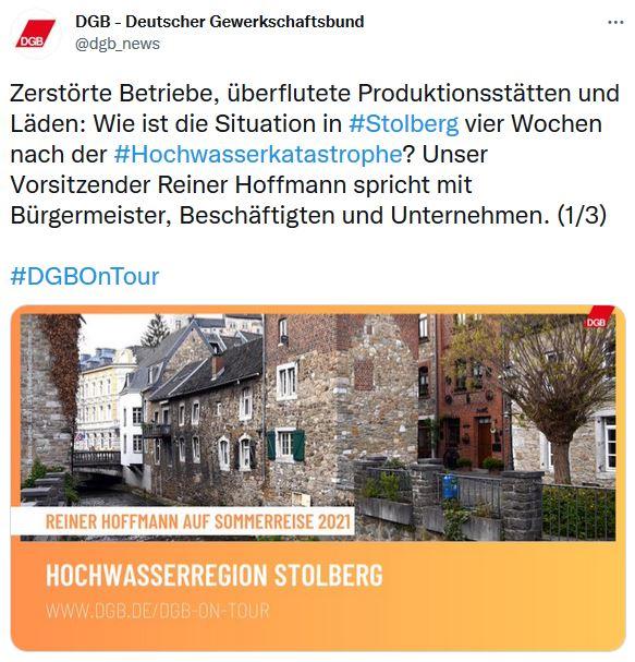 Foto vom DGB und Reiner Hoffmanns Sommerreise. Innenstadt von Stolberg.
