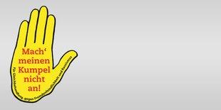 Logo Gelbe Hand Kumpelverein, Mach meinen Kumpel nicht an!