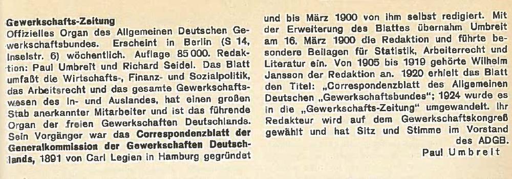 ADGB Zeitung Gewerkschaft
