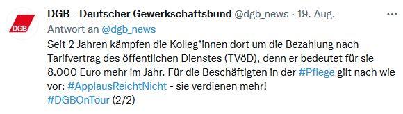 Foto von einem Tweet von der Sommerreise von Reiner Hoffmann 2021. Zur Streik-Unterstützung der Kolleg*innen in Bad-Lippspringe beim Medizinischen Zentrum für Gesundheit (MZG)