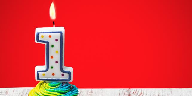 Kerze 1. Geburtstag