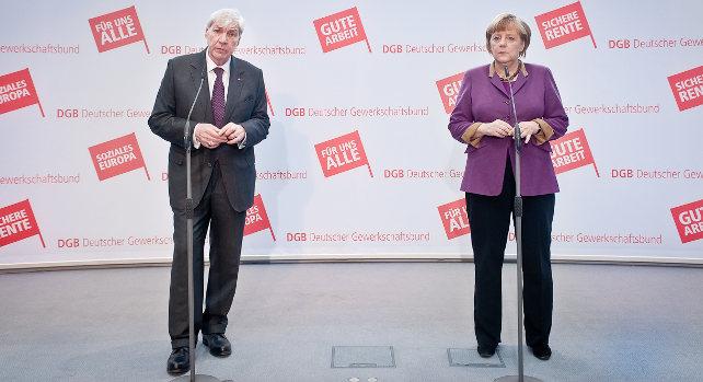 Michael Sommer und Angela Merkel - Pressestatement im Rahmen der DGB-Bundesvorstandsklausur