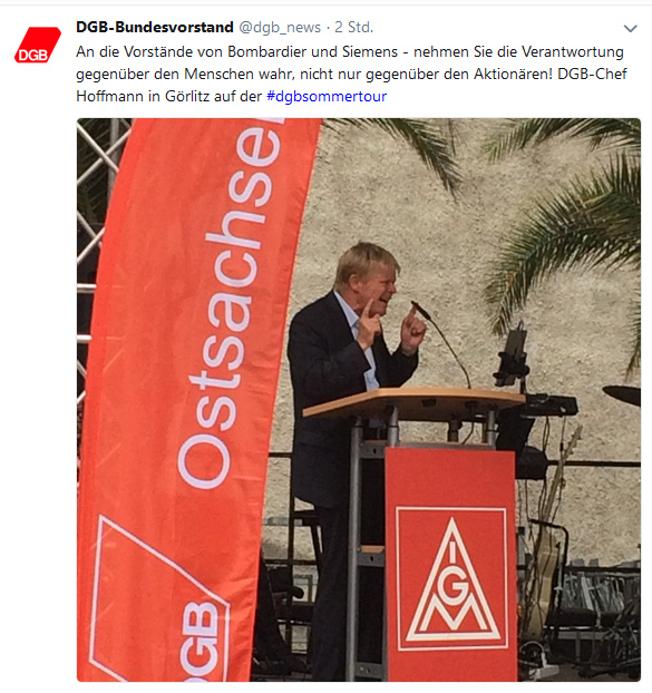 verlinkter Screenshot zu Tweet des DGB; Sommertour 2018 DGB-Vorsitzender Reiner Hoffmann