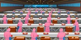 Grafik zeigt viele Mitarbeiter in Fleischfabrik am Fließband