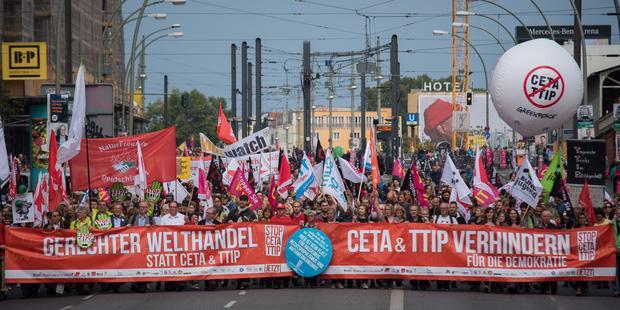 Demonstration Berlin für gerechten Welthandel