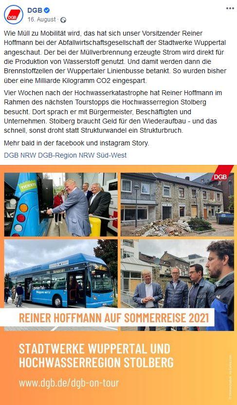 Vier Bilder von DGB-Chef Reiner Hoffmanns Sommerreise. Auf der linken Seite oben tankt Reiner Hoffmann einen blauen Bus der Stadtwerke Wuppertal mit Wasserstoff auf und darunter ist der blaue Bus längst zu sehen. Auf der rechten Seite ist eine Bild der Stadt Stolberg, die bei der Flutkatastrophe zum Teil zerstört wurde. Darunter ist Reiner Hoffmann im Gespräch mit Bürgermeister, Beschäftigten und Unternehmen der Stadt Stolberg.
