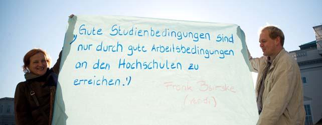 """""""Gute Studienbedingungen sind nur durch gute Arbeitsbedingungen an den Hochschulen zu erreichen."""" Standpunkt des ver.di-Vorsitzenden Frank Bsirske zum Leitbild demokratische Hochschule"""