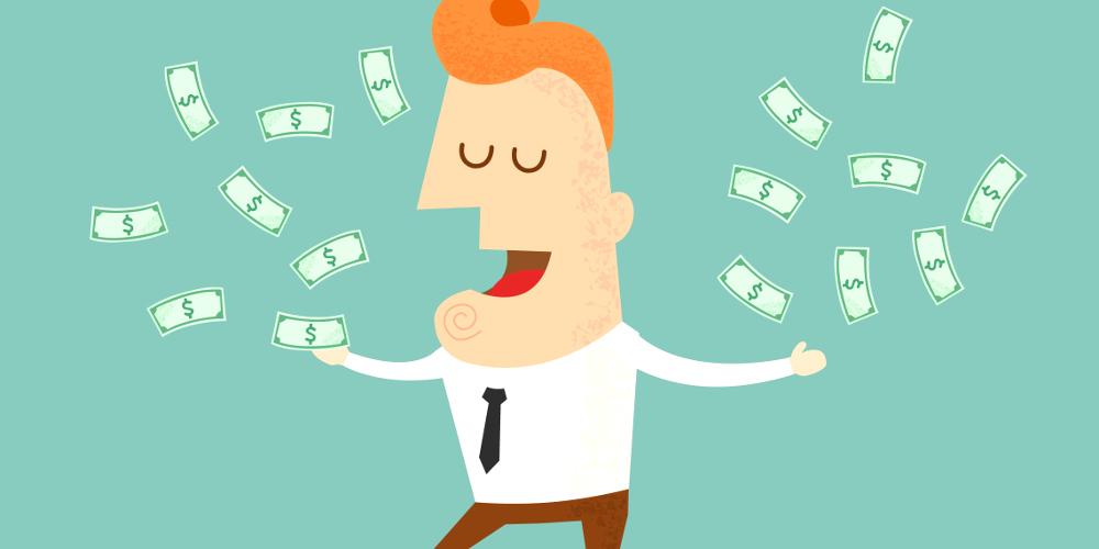 Zeichnung eines Mannes in Oberhemd und Krawatte, der mit Geldscheinen um sich wirft