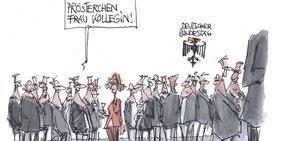 Karikatur zum Frauenwahlrecht: Im Bundestag stehen viele Männer und gratulieren einer Frau zu 100 Jahre Frauenwahlrecht.