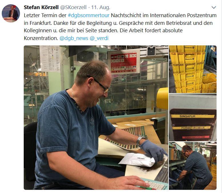 Tweet von Stefan Körzell zur Mitarbeit im IPZ