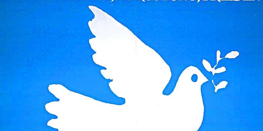 Grafik einer Friedenstaube, weiß auf blauem Grund