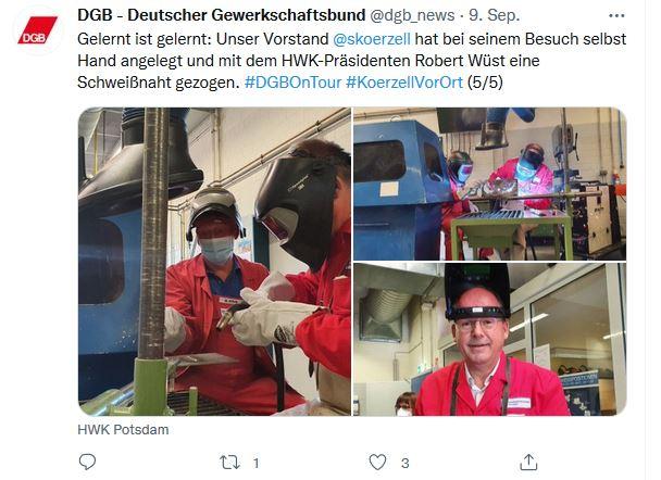 Drei Fotos von Stefan Körzell auf der Sommerreise 2021. Vor Ort ist Stefan Körzell diesmal auf dem Bildungs- und Innovationscampus Handwerk, Götz. In Schutzkleidung schweißt DGB-Vorstand Stefan Körzell.