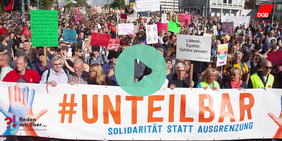 Jörg Hofmann (IG Metall) auf der Demo des Unteilbar-Bündnisses 2018