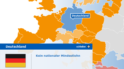 Europakarte Mindestlohn-Tarifarchiv