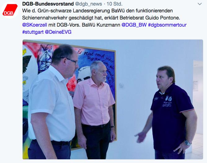 """Tweet DGB: """"Wie die grün-schwarze Landesregierung BaWü den funktionierenden Schienennahverkehr geschädigt hat, erklärt Betriebsrat Guido Pontone"""""""