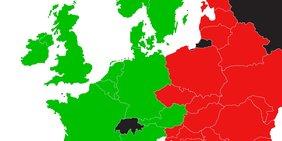Ausschnitt einer Europakarte mit Ländergrenzen (westeuropäische EU-Staaten grün eingefärbt, osteuropäische rot eingefärbt)