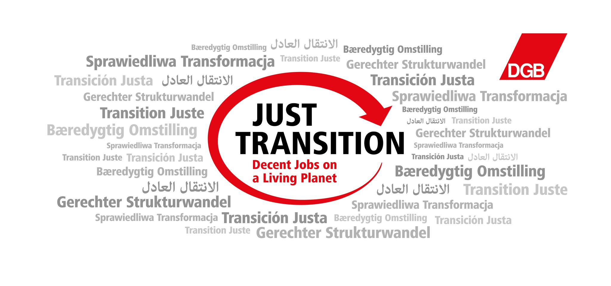 Logoabbildung: Gerechter Strukturwandel Just Transition Decent Jobs on a Living Planet mit rotem Pfeil umrundet