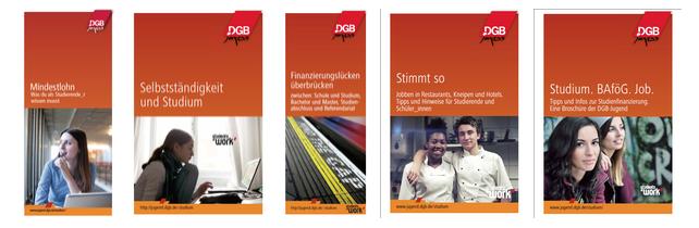 Screenshots Broschüren / Flyer DGB Jugend Studium BAföG Praktikum Praktika Studentenjob Studienjob