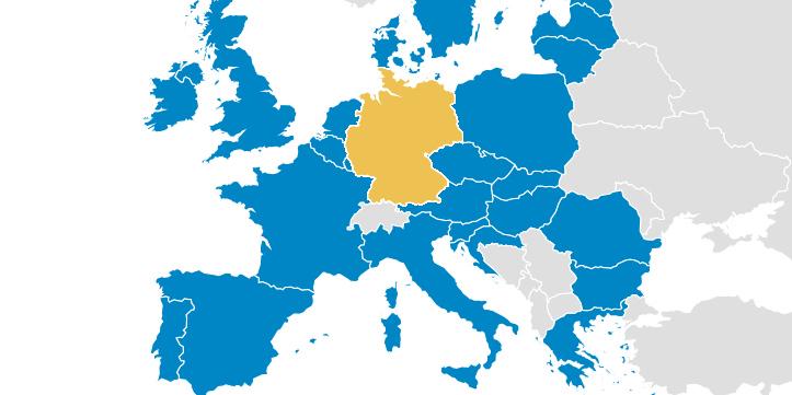 Landkarte von Europa mit Ländergrenzen; Deutschland gelb eingefärbt, übrige EU-Staaten blau, Nicht-EU-Staaten weiß