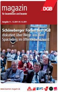 Titel Beamtenmagazin: Schöneberger Forum des DG diskutiert über Wege aus dem Sparzwang im öffentlichen Dienst