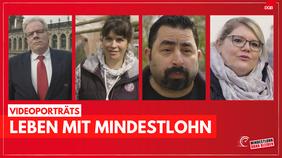 Bild mit vier Beschäftigten, die über das Leben mit Mindestlohn erzählen