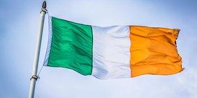 im Wind wehende irische Flagge
