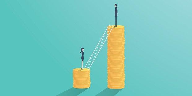Vekrografik Lohnlücke: Zwei Münzstapel mit niedrigem Stapel und Frau und höherem Stapel und Mann