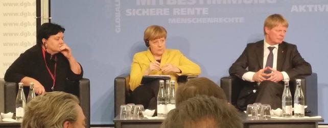 Reiner Hoffmann, DGB, Angela Merkel, Sharan  Burrow, IGB