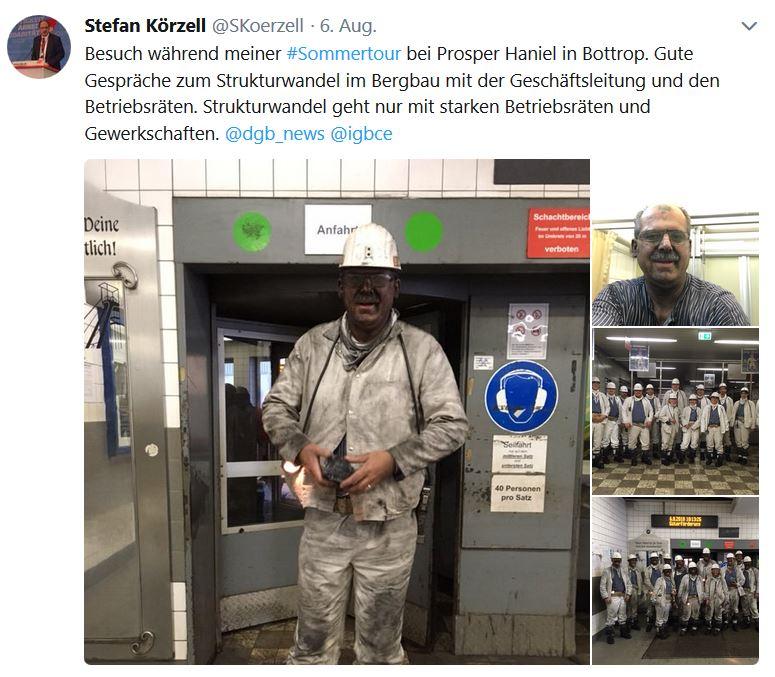 Tweet Stefan Körzell mit Fotos vom Besuch im Bergwerk