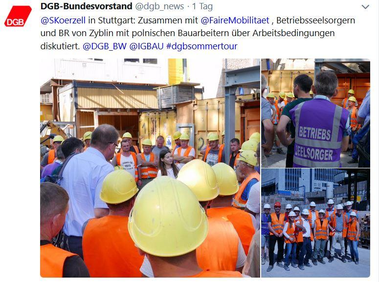 Tweet DGB zum Besuch der Baustelle S21