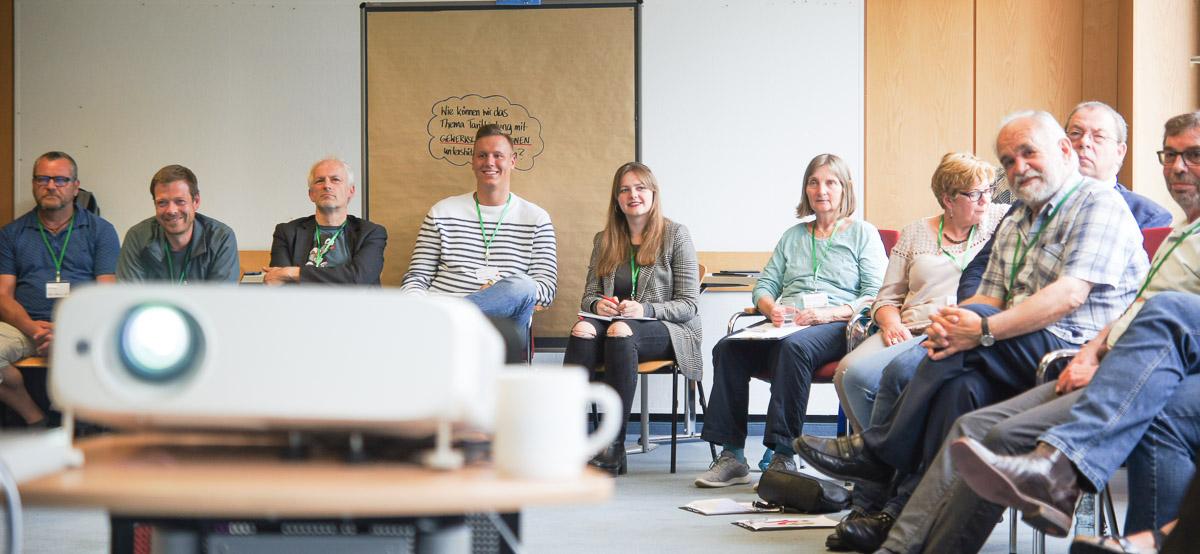Diskussion in einem Workshop der Sommerwerkstatt des DGB-Zukunftsdialogs in Hattingen