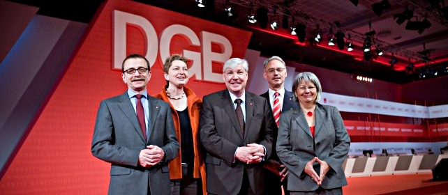 Der Geschäftsführende Bundesvorstand: Claus Matecki, Annelie Buntenbach, Michael Sommer, Dietmar Hexel, Ingrid Sehrbrock