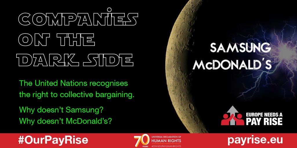 """Unternehmen auf der """"dunklen Seite"""" der Macht? Die Vereinten Nationen erkennen das Recht auf Tarifverhandlungen an. """"Warum nicht Samsung? Warum nicht McDonald's?"""", fragt der Europäische Gewerkschaftsbund (EGB)."""