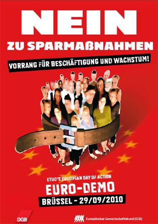 Aufruf zur Demo gegen Sparmaßnahmen, für mehr Beschäftigung und Wachstum am 29.09. in Brüssel
