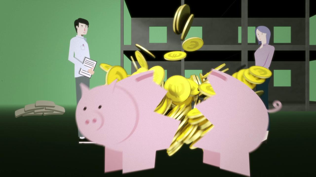 Sparschwein, zerschlagen