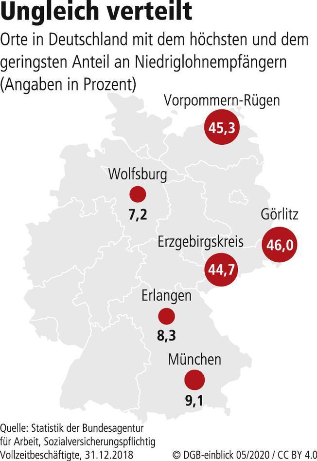 Deutschlandkarte mit Anteilen von Niedriglohnempfängern